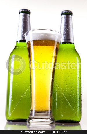 Beer bottle and glass stock photo, Beer collection, glass in studio. by Sebastian Duda