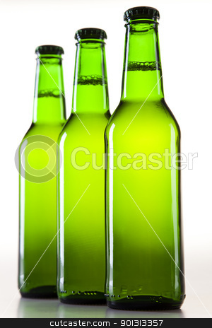 Bottles of beer against a white background  stock photo, Beer collection, glass in studio. by Sebastian Duda