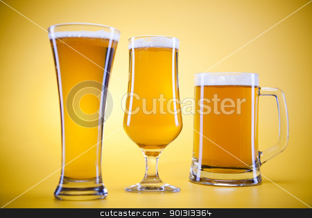 Beer glass stock photo, Beer collection, glass in studio. by Sebastian Duda