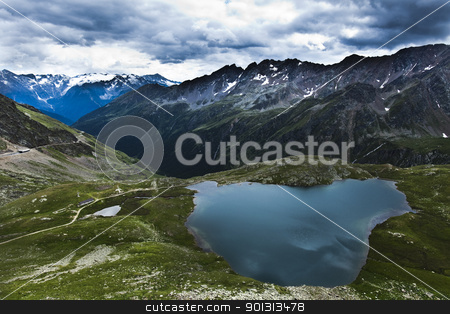 Mountain stock photo, Mountain top under the blue sky with clouds. by Sebastian Duda