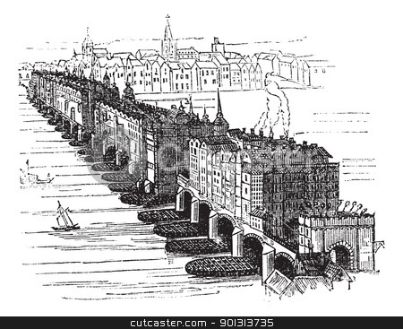 Old Medieval London Bridge, in England, United Kingdom, vintage  stock vector clipart, Old Medieval London Bridge, in England, United Kingdom, in 1616, vintage engraved illustration. Trousset encyclopedia (1886 - 1891). by Patrick Guenette
