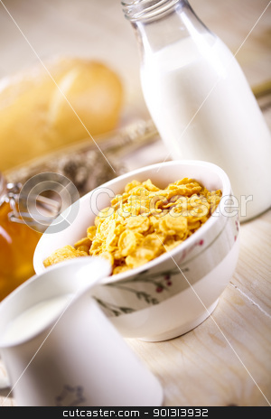Assortment of baked bread  stock photo, Still-life assortment of breakfast. by Sebastian Duda