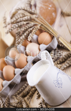 Loaf of bread over background stock photo, Still-life assortment of breakfast. by Sebastian Duda