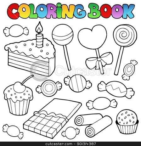 Coloring book candy and cakes stock vector