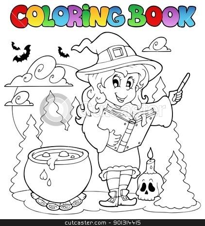 Coloring book Halloween character 2 stock vector clipart, Coloring book Halloween character 2 - vector illustration. by Klara Viskova