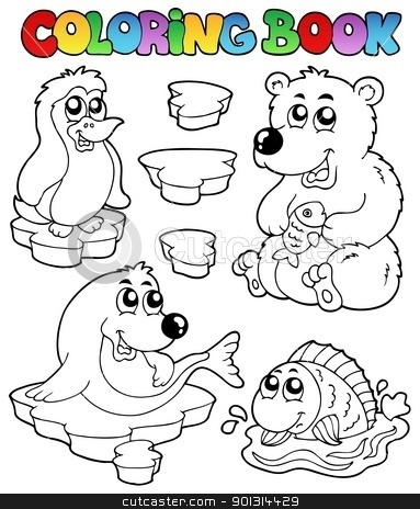 Coloring book winter topic 1 stock vector clipart, Coloring book winter topic 1 - vector illustration. by Klara Viskova