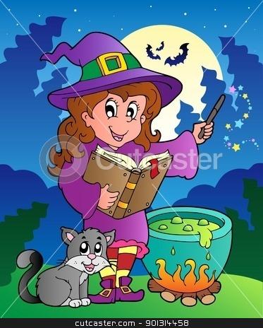 Halloween character scene 3 stock vector clipart, Halloween character scene 3 - vector illustration. by Klara Viskova