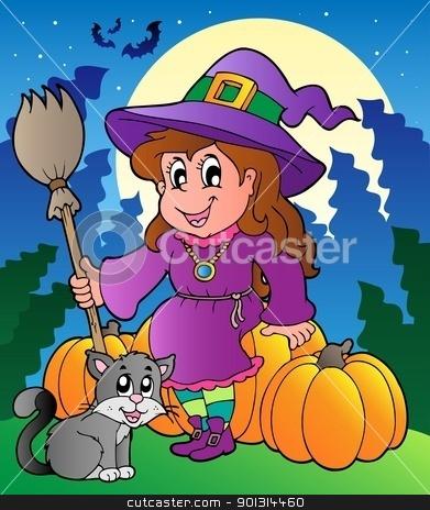 Halloween character scene 4 stock vector clipart, Halloween character scene 4 - vector illustration. by Klara Viskova