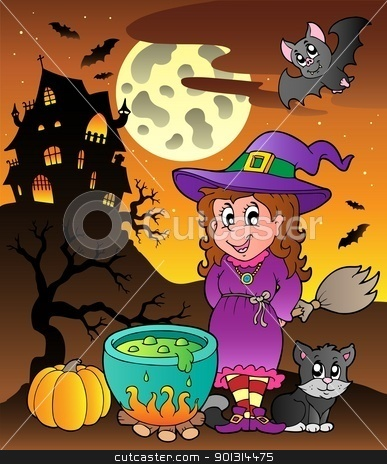 Scene with Halloween theme 3 stock vector clipart, Scene with Halloween theme 3 - vector illustration. by Klara Viskova