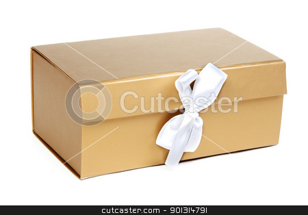 Golden gift box with a bow stock photo, Golden gift box with a bow on a white background by Ruslan Kudrin