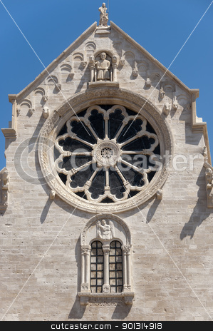 Ruvo (Bari, Puglia, Italy): Old cathedral in Romanesque style, r stock photo, Ruvo (Bari, Puglia, Italy): Old cathedral in Romanesque style, rose window by clodio