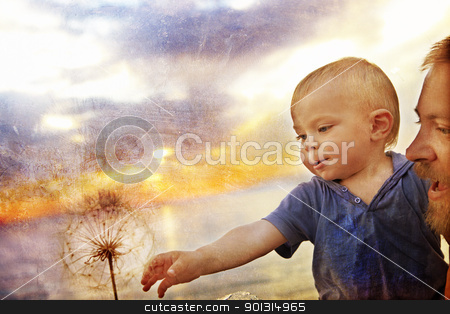 boy and dandelion stock photo, Small baby boy held up by his father reaching for a seed dandelion with grunge texture applied for a rustic effect. by lubavnel