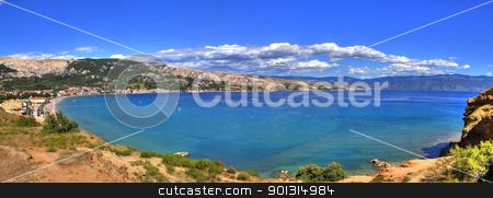 Bay of Baska - beautiful long beach stock photo, Bay of Baska, Island of Krk, Croatia - beautiful long peebles beach by xbrchx