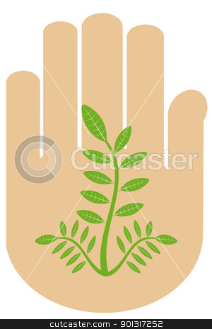 Hand and tree stock vector clipart, Abstract environmental concept with hand and tree by Ingvar Bjork