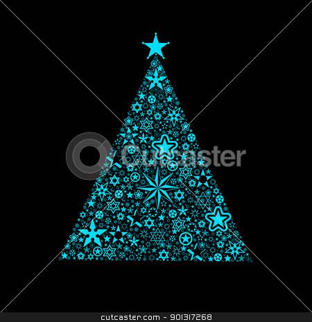 Christmas decoration stock vector clipart, Beautiful christmas decoration of stars tree isolated on black by Ingvar Bjork