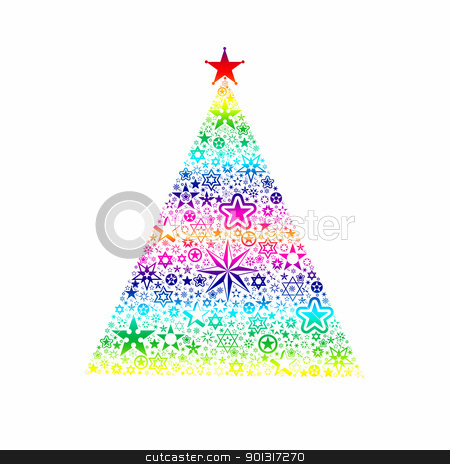 Christmas decoration stock vector clipart, Colorful christmas decoration of stars tree isolated on white by Ingvar Bjork