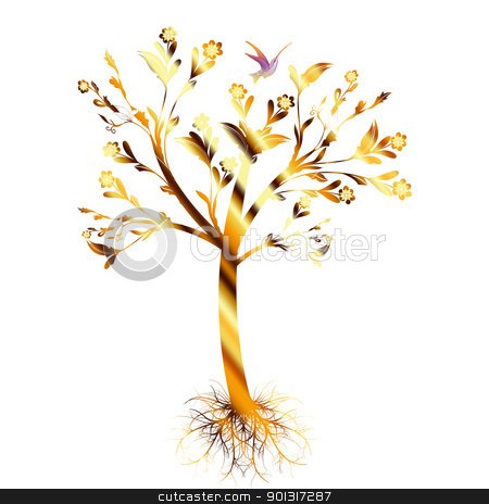Art tree stock vector clipart, Colorful art tree with roots isolated on white background by Ingvar Bjork