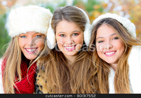group of winter girls or young women with perfect white teeth stock photo, group of winter girls or young women with perfect white teeth by mandygodbehear