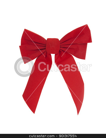 Christmas Bow stock photo, Large red Christmas bow by Bryan Mullennix