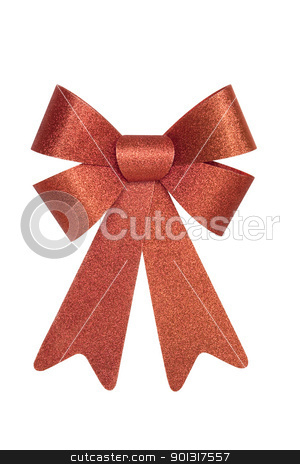 Shiny Red Bow stock photo, Shiny Red Christmas Bow, isolated w/clipping path by Bryan Mullennix
