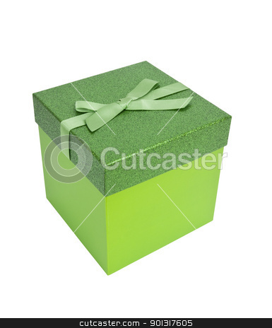 Green Christmas Present stock photo, Green christmas present, isolated w/clipping path by Bryan Mullennix