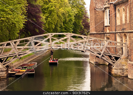 Cambridge University - Queens College stock photo, The Charter for Queens College was granted in 1448. Notable recent Alumni include Stephen Fry. The bridge was built in 1749 and has subsequently been rebuilt to the same design in 1866 and 1905. There are many stories associated with this bridge which links 2 parts of the College. by SRSImages