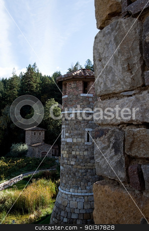 Castle Tower stock photo, A tower made of stone that is part of a castle by Kevin Tietz