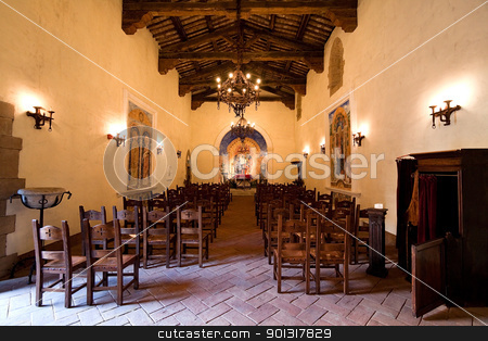 Old Church Interior stock photo, The interior of a small old church by Kevin Tietz