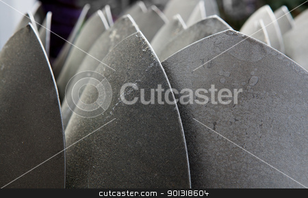 Shovel Forest stock photo, Sea of shovel tips that look like a metal forest by bobkeenan