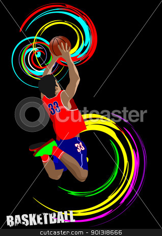 Poster of Basketball player. Colored Vector illustration for des stock vector clipart, Poster of Basketball player. Colored Vector illustration for designers by Leonid Dorfman