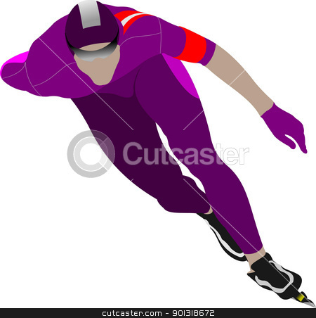 Speed skating. Vector illustration stock vector clipart, Speed skating. Vector illustration by Leonid Dorfman
