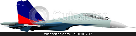 Combat aircraft. Team. Colored vector illustration for designers stock vector clipart, Combat aircraft. Team. Colored vector illustration for designers by Leonid Dorfman