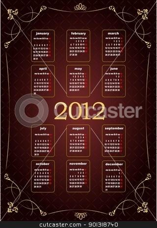 Vintage image 2012 calendar. Vector illustration  stock vector clipart, Vintage image 2012 calendar. Vector illustration  by Leonid Dorfman
