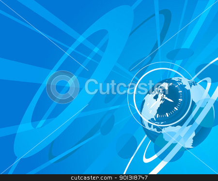 Globe and clock background stock vector clipart, Blue globe clock background illustration by Christos Georghiou