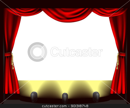 Theatre stage stock vector clipart, A theatre stage, lights and curtain illustration by Christos Georghiou