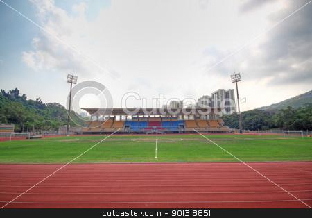 empty football field stock photo, empty football field by Keng po Leung
