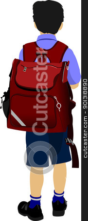 Little boy is going to school. Back to school. Vector illustrati stock vector clipart, Little boy is going to school. Back to school. Vector illustration by Leonid Dorfman