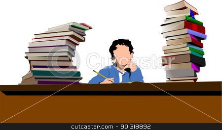 Sitting boy between book`s column. Back to school. Vector illust stock vector clipart, Sitting boy between book`s column. Back to school. Vector illustration by Leonid Dorfman