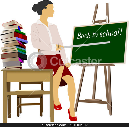 Woman teacher in classroom. Back to school. Vector illustration stock vector clipart, Woman teacher in classroom with book column. Back to school. Vector illustration by Leonid Dorfman