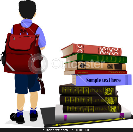 Schoolboy and column books. Vector illustration stock vector clipart,  Schoolboy and column books. Vector illustration by Leonid Dorfman