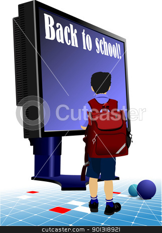 Schoolboy  going to school.. Back to school.  Monitor and books. stock vector clipart, Schoolboy  going to school.. Back to school.  Monitor and books. Vector illustration by Leonid Dorfman