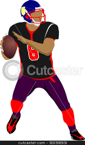 American football player s silhouettes in action. Vector illustr stock vector clipart, American football player s silhouettes in action. Vector illustration by Leonid Dorfman