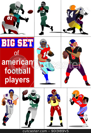 Big set of American football player s silhouettes in action. Vec stock vector clipart, Big set of American football player s silhouettes in action. Vector illustration by Leonid Dorfman