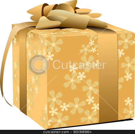 Gold decorated gift box  with gold bow. Vector illustration stock vector clipart, Gold decorated gift box  with gold bow. Vector illustration by Leonid Dorfman