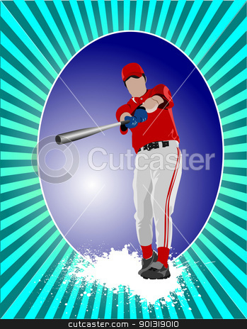 Baseball player poster. Vector illustration stock vector clipart, Baseball player poster. Vector illustration by Leonid Dorfman
