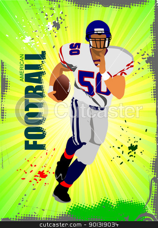 American football sport poster. Vector illustration stock vector clipart, American football sport poster. Vector illustration by Leonid Dorfman