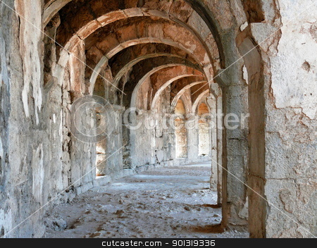 Arch gallery in ancient amphitheater stock photo, Arch gallery in ancient amphitheater - Aspendos, Turkey by Stoyanov
