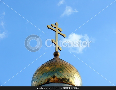 Ortodoxal cross in the blue sky background stock photo, Ortodoxal cross in the blue sky background by Stoyanov