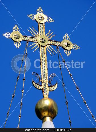 Ortodoxal cross in the blue sky background stock photo, Ortodoxal cross in the blue sky background by Stoyanov
