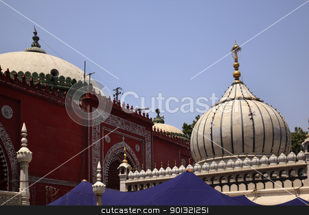 Nizamuddin Complex Mosque Grave New Delhi India stock photo, Nizamuddin Complex Mosque New Delhi India Grave of the Islamic Sufti Saint Sheikh Hazrat Nizamuddin Auliya, famous Sufti mystic died in 1325  by William Perry